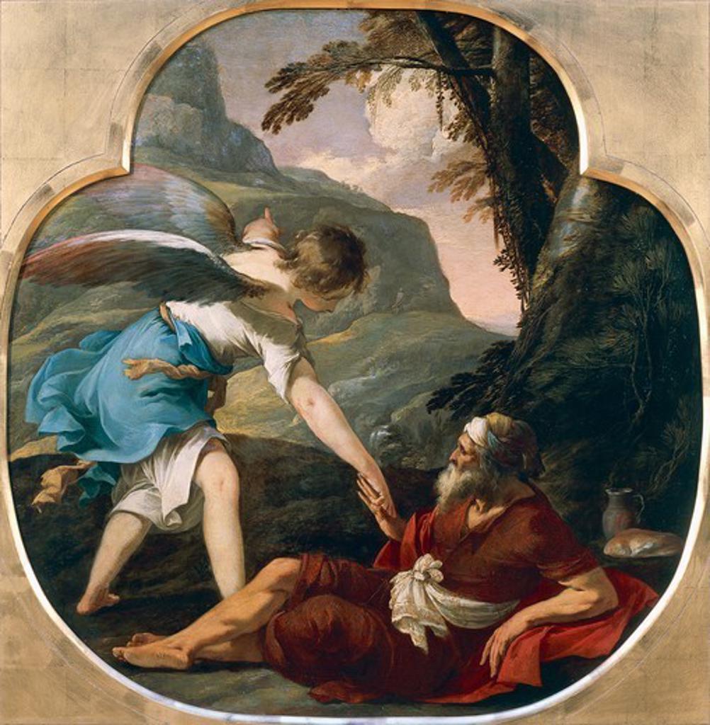 Elijah fed by an angel, ca 1629, by Laurent de la Hyre (1606-1656), oil on copper, 63x62 cm. : Stock Photo
