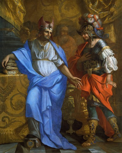The Meeting of Abraham and Melchizedek, 1635, by Laurent de la Hyre (1606-1656). : Stock Photo
