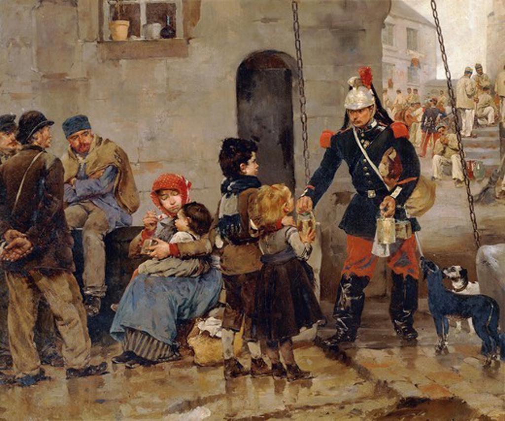 Poor in Paris, 1886, by Marius Roy (1833-1921). Detail. : Stock Photo