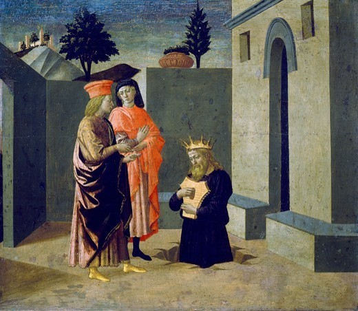 Stock Photo: 1788-44829 The penance of King David or David before the Prophet Nathan, 1442-1445, by Francesco di Stefano callled Pesellino (1422-ca 1457), tempera on panel.