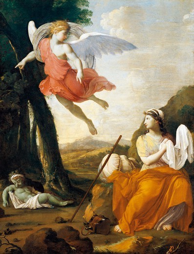 Stock Photo: 1788-44838 Hagar and Ishmael saved by an angel, by Eustache Le Sueur (1616-1655), 159x114 cm.