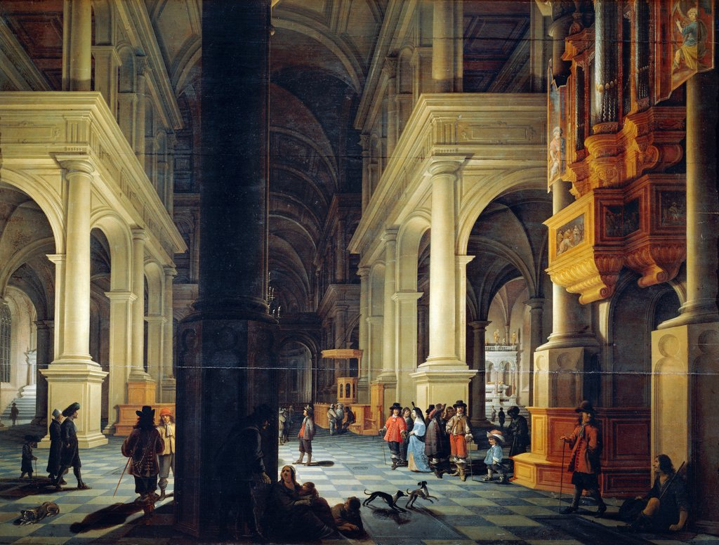 Stock Photo: 1788-44839 Interior of a temple, 1652, by Anthonie De Lorme (ca 1610-1673).