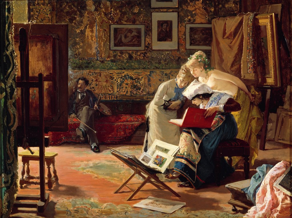 Artist's studio, by Lorenzo Valles (1831-1910). : Stock Photo