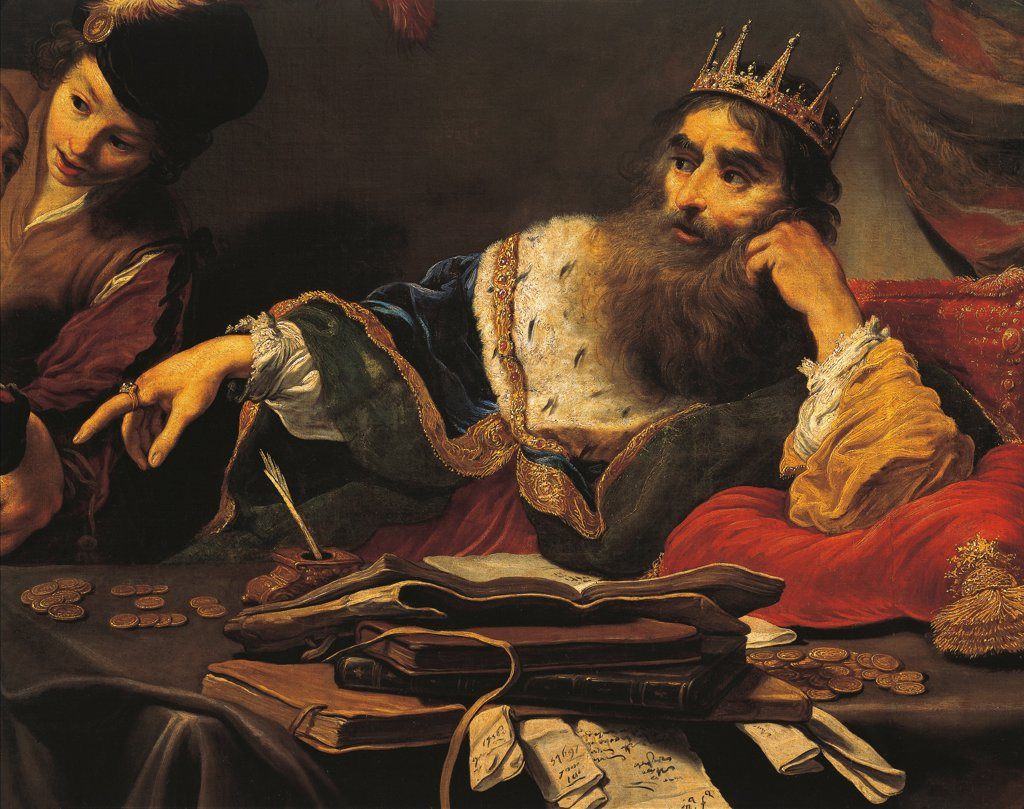 Croesus receiving a tribute from a Lydian, 1629, by Claude Vignon (1593-1670), oil on canvas, 105x149 cm. Detail. : Stock Photo