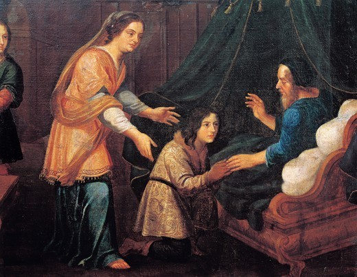 Isaac blessing Jacob, 17th century, by an unknown French artist. : Stock Photo
