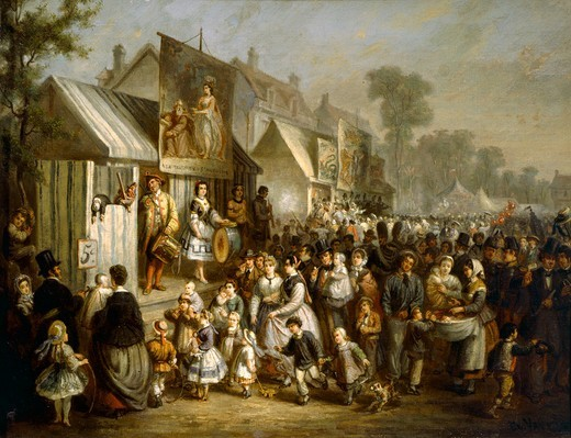 Street festival in Saint-Cloud during the Second Empire, France 19th Century. : Stock Photo