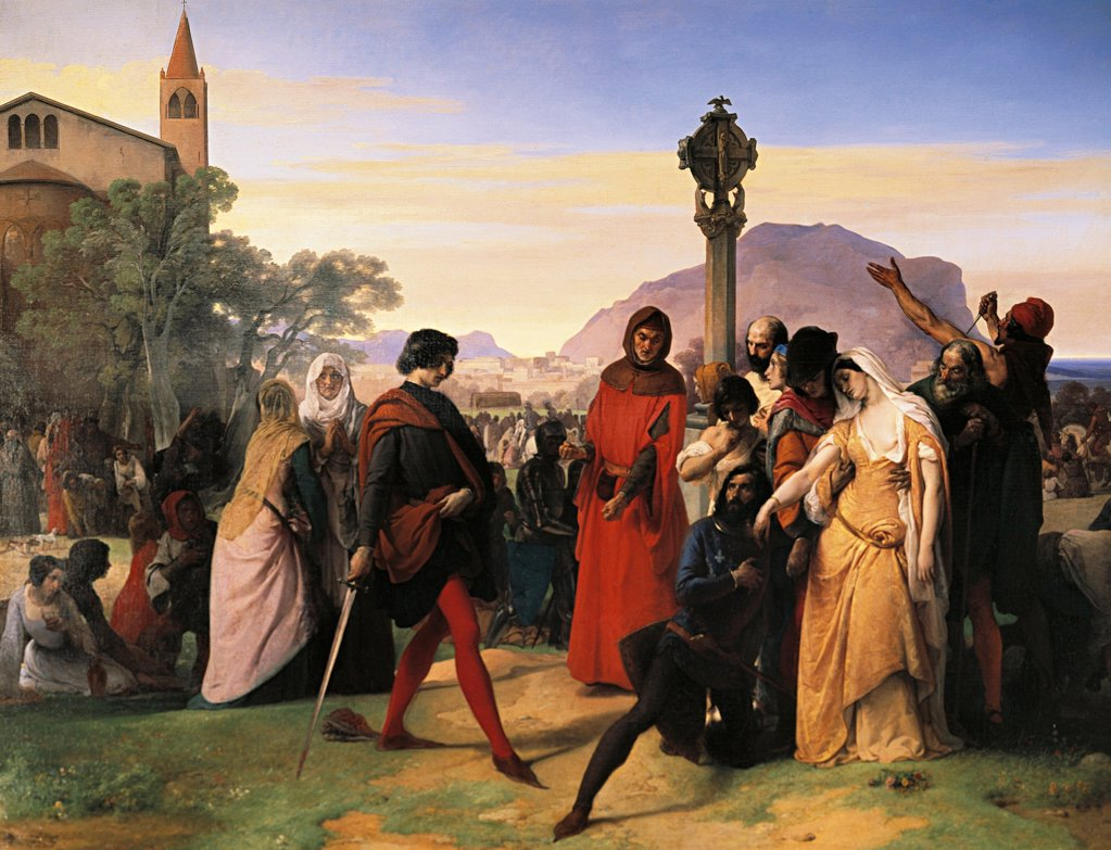Stock Photo: 1788-44894 Sicilian Vespers, the bride of Ruggiero Mastrangelo from Palermo insulted by the French Droetto is avenged with the death of this, 1846, by Francesco Hayez (1791-1882), oil on canvas, 225x300 cm.