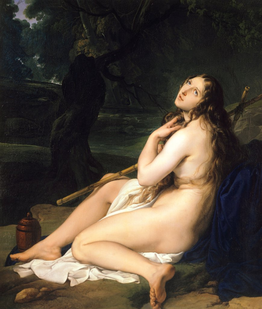 Penitent Saint Mary Magdalene, 1825, by Francesco Hayez (1791-1882), oil on canvas, 131.5x112.6 cm. : Stock Photo