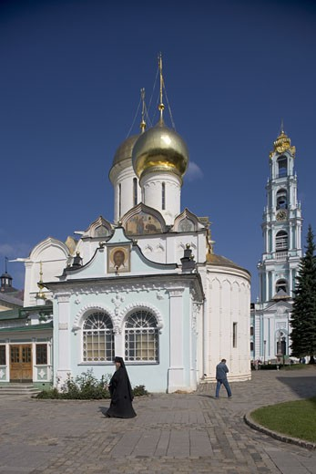 Stock Photo: 1788-4491 Russia, Sergiev-Posad, Trinity Cathedral and belltower