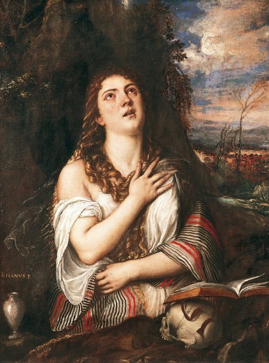 Stock Photo: 1788-44930 La Maddalena, ca 1550, by Titian (about 1490-1576), oil on canvas, 122x94 cm.