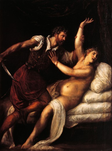 Tarquinius and Lucretia, 1515, by Titian (ca 1490-1576), oil on panel, 84x68 cm. : Stock Photo