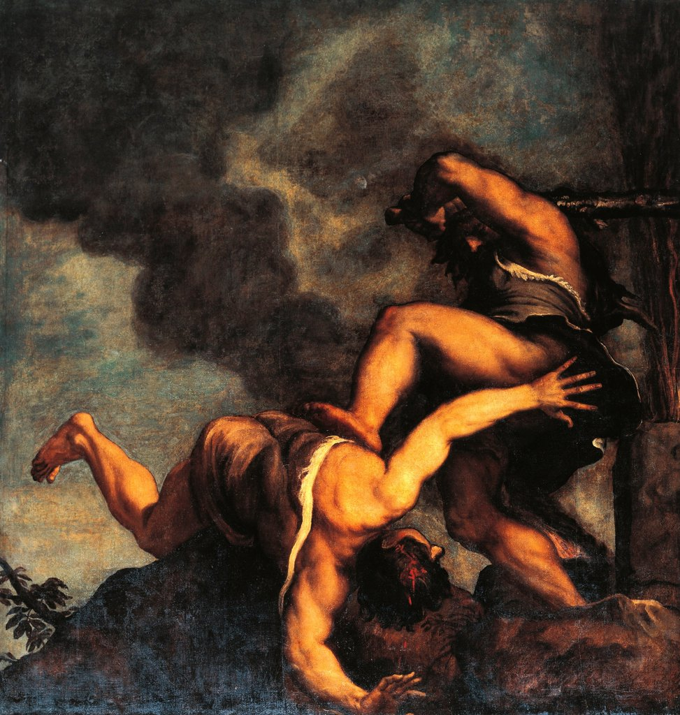 Stock Photo: 1788-44935 Cain and Abel, Titian (ca 1490-1576). Church of the Salute, Venice.