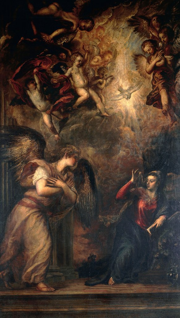 Stock Photo: 1788-44937 Annunciation, by Titian (ca 1490-1576). Church of San Salvador, Venice.