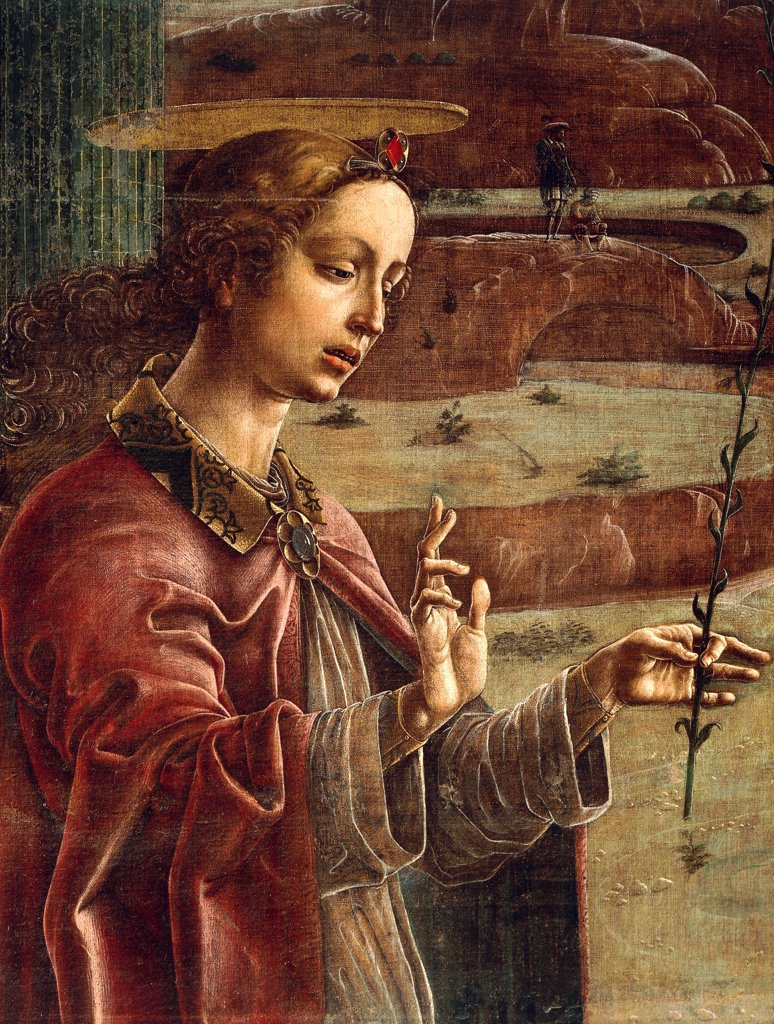 Annunciation, organ-shutter wood in the Cathedral of Ferrara, 1469, by Cosme' Tura (1430-ca 1495), tempera on canvas, 349x305 cm. Detail. : Stock Photo