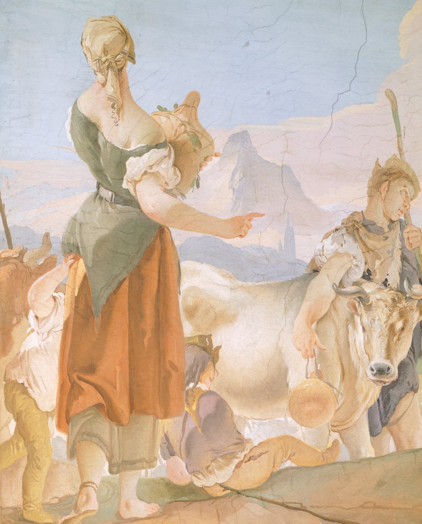 Stock Photo: 1788-44950 Rachel hiding the idols, by Giambattista Tiepolo (1696-1770), fresco. Detail. Archbishop's Palace in Udine.