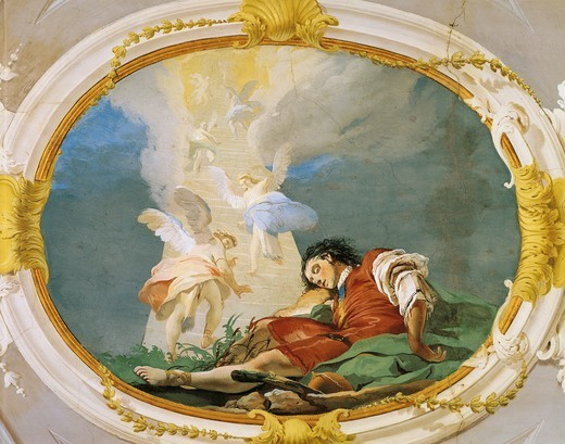 Stock Photo: 1788-44963 Jacob dreaming, 1726-1739, by Giovanni Battista Tiepolo (1696-1770), fresco. Patriarchal Palace, Guest Hall, Udine.