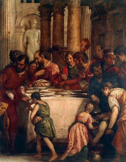 Banquet scene, detail from Dinner at the Pharisee's house or Dinner at Simon's house, 1570, by Paolo Caliari known as Veronese (1528-1588), oil on canvas, 275x710 cm. : Stock Photo