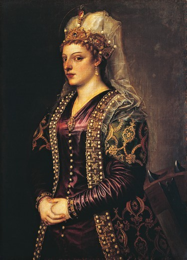Stock Photo: 1788-44971 Portrait of Caterina Cornaro, or St Catherine of Alexandria, 1542-1599, by Titian (ca 1490-1576) and his workshop, oil on canvas, 102x72 cm.
