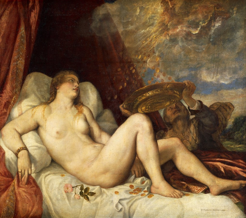 Stock Photo: 1788-44973 Danae, 1554, by Titian (ca 1490-1576), oil on canvas, 135x152 cm.