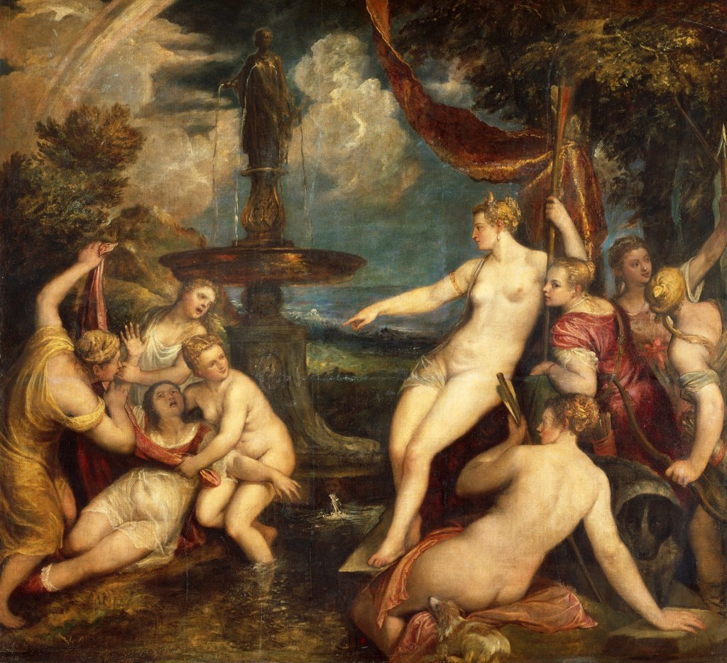 Stock Photo: 1788-44975 Diana and Callisto, 1566, by Titian (ca 1490-1576), oil on canvas, 183x200 cm.