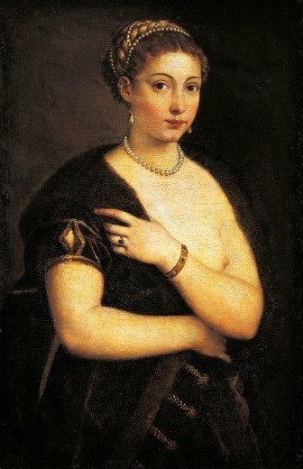 Stock Photo: 1788-44977 Girl in a fur, 1535, by Titian (ca 1490-1576), oil on canvas 95x63 cm.