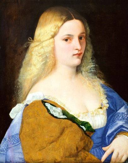 Stock Photo: 1788-44978 Violante, 1515, by Titian (ca 1490-1576), oil on canvas, 64x51 cm.