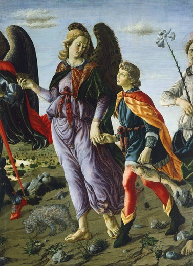 Stock Photo: 1788-44988 Panel with three Angels and Tobias, ca 1470, by Francesco Botticini (1446-1497) and Andrea del Verrocchio (1437-1488), 135x154 cm. Detail.