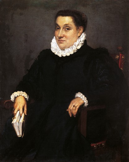 Stock Photo: 1788-44999 Seated woman with a book, ca 1570, by Giovanni Battista Moroni (ca 1525-1578), oil on canvas, 98x80 cm.