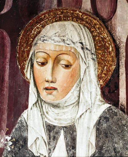 St Catherine of Siena, 13th-15th century, by an unknown artist, fresco. Detail. St Francis Church, Lodi, Italy. : Stock Photo