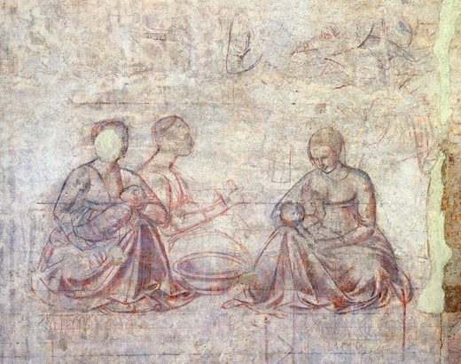 Stories of Jacob and Esau, by Benozzo Gozzoli (1421-1497), synopia (underdrawing). Detail. : Stock Photo