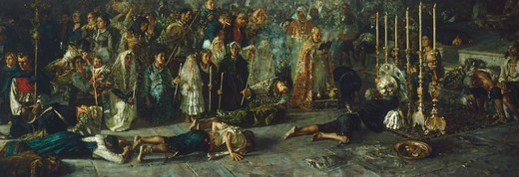The vote, 1883, by Francesco Paolo Michetti (1851-1929), oil on canvas, 245x695 cm. : Stock Photo