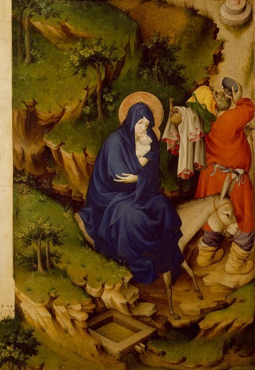 Flight into Egypt, detail from the right panel of the Champmol Altar, 1393-1399, by Melchior Broederlam (ca 1355-ca 1411), tempera on wood, 167x125 cm. : Stock Photo