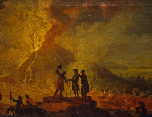 Stock Photo: 1788-45064 Eruption of Vesuvius, by Pierre-Jacques Volaire (1729-1792), oil on canvas, 52x79 cm. Detail.