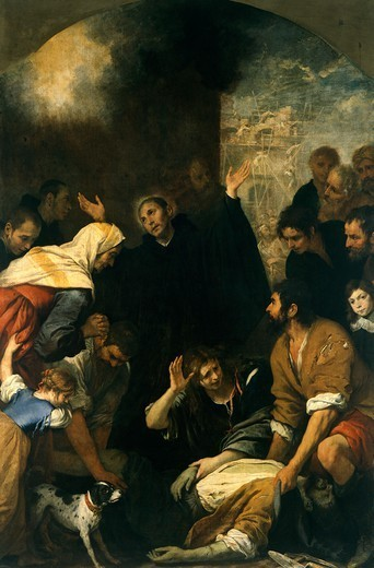 Miracle of the mason, by Giovanni Andrea De Ferrari (1598-1669). : Stock Photo