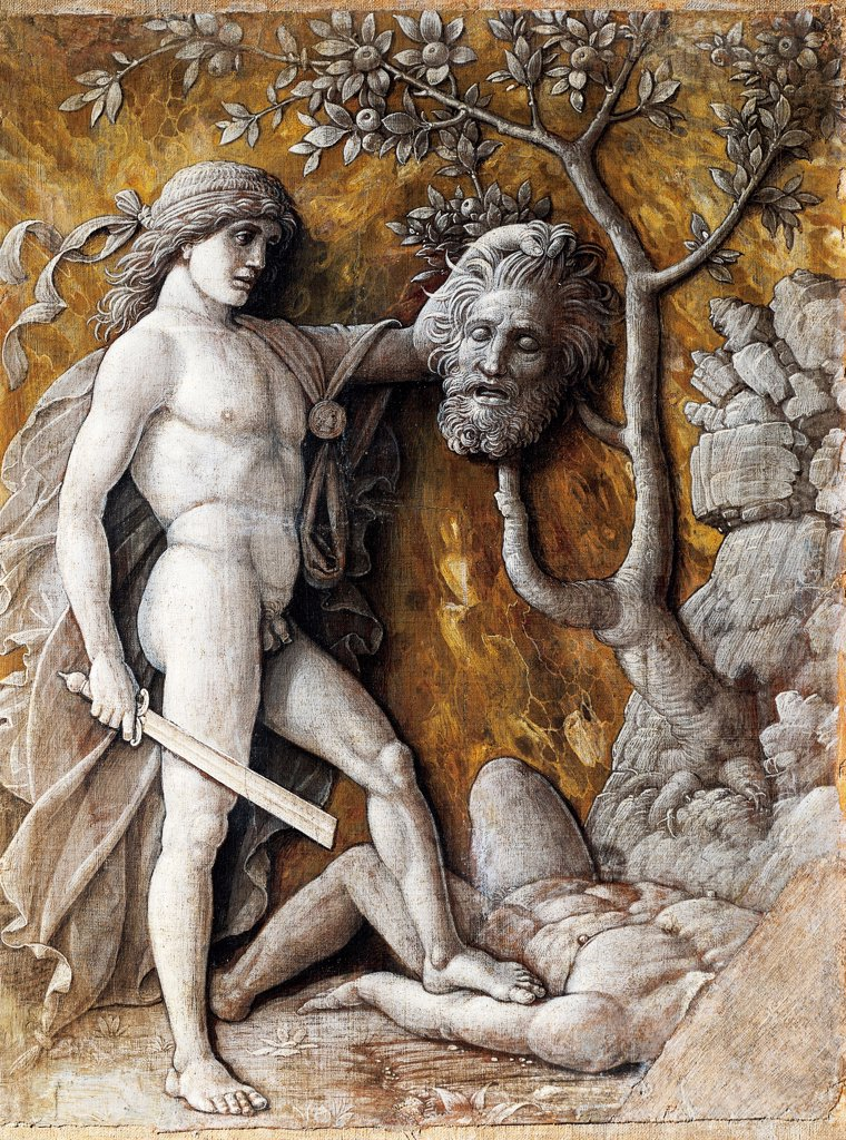 David with Goliath's Head, ca 1495, artist from Andrea Mantegna's workshop (1431-ca 1506), grisaille, 48x36 cm. : Stock Photo