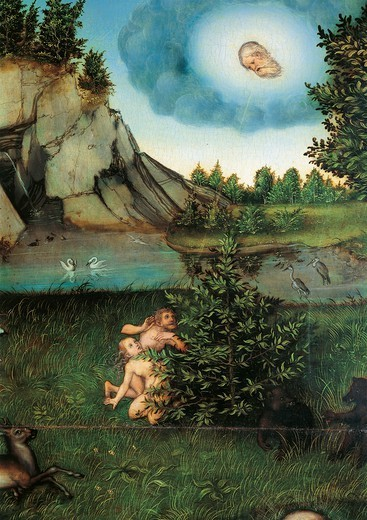 Stock Photo: 1788-45122 Adam and Eve in The Garden of Eden, 1530, by Lucas Cranach the Elder (1472-1553), oil on panel. Detail.