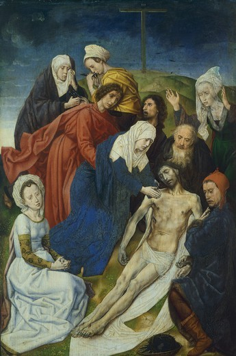 Stock Photo: 1788-45125 Lamentation of Christ, the right panel of a diptych, by Hugo van der Goes (ca 1440-1482), oil on panel.