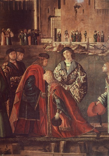 Stock Photo: 1788-45156 Stories of St Ursula, the Meeting of Etherius and Ursula and the Departure of the Pilgrims, Ereo taking leave of his father, 1495, by Vittore Carpaccio (ca 1465- ca 1526), tempera on canvas, 280x611 cm.