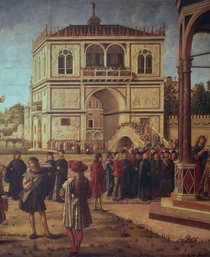 Stock Photo: 1788-45157 The return of the ambassadors, detail from the Stories of St Ursula, 1495, by Vittore Carpaccio (ca 1465-1525 or 1526), ??oil on canvas, 297x527 cm.