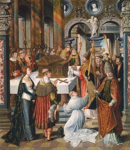 Stock Photo: 1788-45167 The Mass, detail from the Legend of St Bertin, by Lancelot Blondeel (1488-1581), panel.