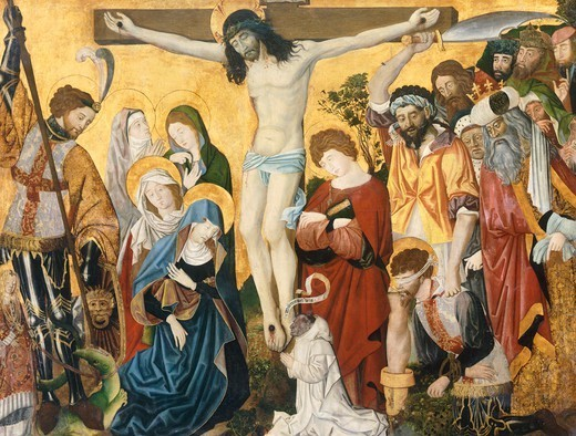 Stock Photo: 1788-45168 Crucifixion, detail from St George's Altarpiece, ca 1450, an unknown artist of Burgundy.