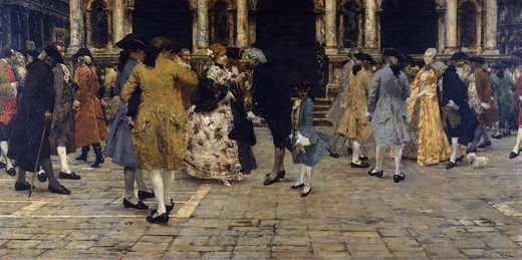 At Liston, 1884, by Giacomo Favretto (1849-1887), oil on canvas, 81x155 cm. : Stock Photo