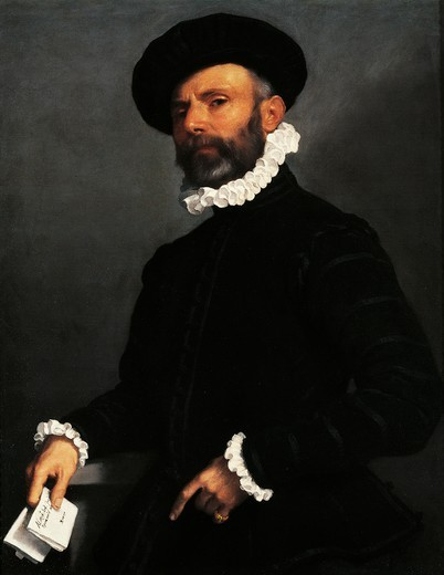 Stock Photo: 1788-45178 Portrait of a man with a letter or the Lawyer, ca 1570, by Giovanni Battista Moroni (1525 ca- 1578), oil on canvas, 89x72.5 cm.