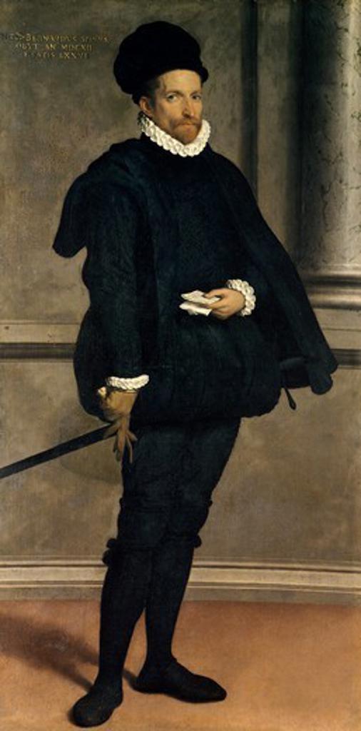 Stock Photo: 1788-45183 Portrait of the noble Bernardo Spini, 1570, by Giovanni Battista Moroni (ca 1525-1578), oil on canvas, 197.6x98.5 cm.