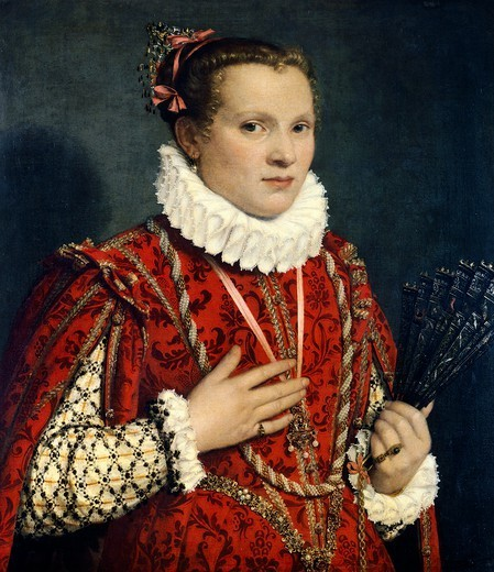 Portrait of a lady with a fan, ca 1570-1580, by Giovanni Battista Moroni (ca 1525-1578), oil on canvas, 73.5 cm x65. : Stock Photo