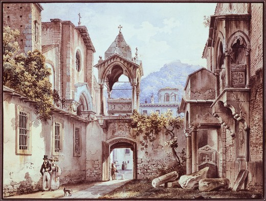 Stock Photo: 1788-45199 The Courtyard of San Giorgetto in Verona, Giovanni Migliara (1785-1837).