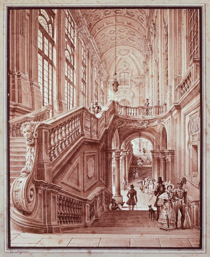 Stock Photo: 1788-45204 Hall of Palazzo Madama, by Giovanni Migliara (1785-1837).