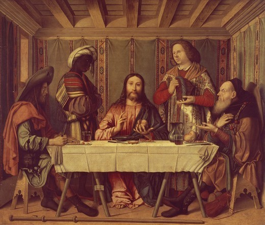 Supper at Emmaus, 1506, by Marco Marziale (active 1492-1507). : Stock Photo
