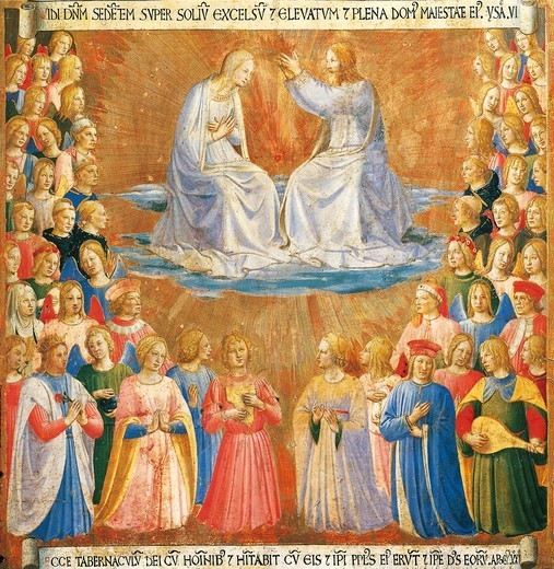 Stock Photo: 1788-45224 Inset depicting the Coronation of the Virgin, panel from the Armadio degli Argenti (Silver Chest) with the life of Jesus, 1451-1453, by Giovanni da Fiesole known as Fra Angelico (1400-ca 1455), tempera on wood.