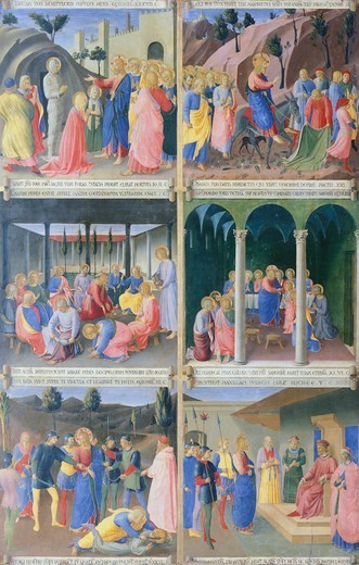 Scenes from the life of Jesus, detail of a panel from the Armadio degli Argenti (Silver Chest) with the life of Jesus, 1451-1453, by Giovanni da Fiesole known as Fra Angelico (1400-ca 1455), tempera on wood. : Stock Photo